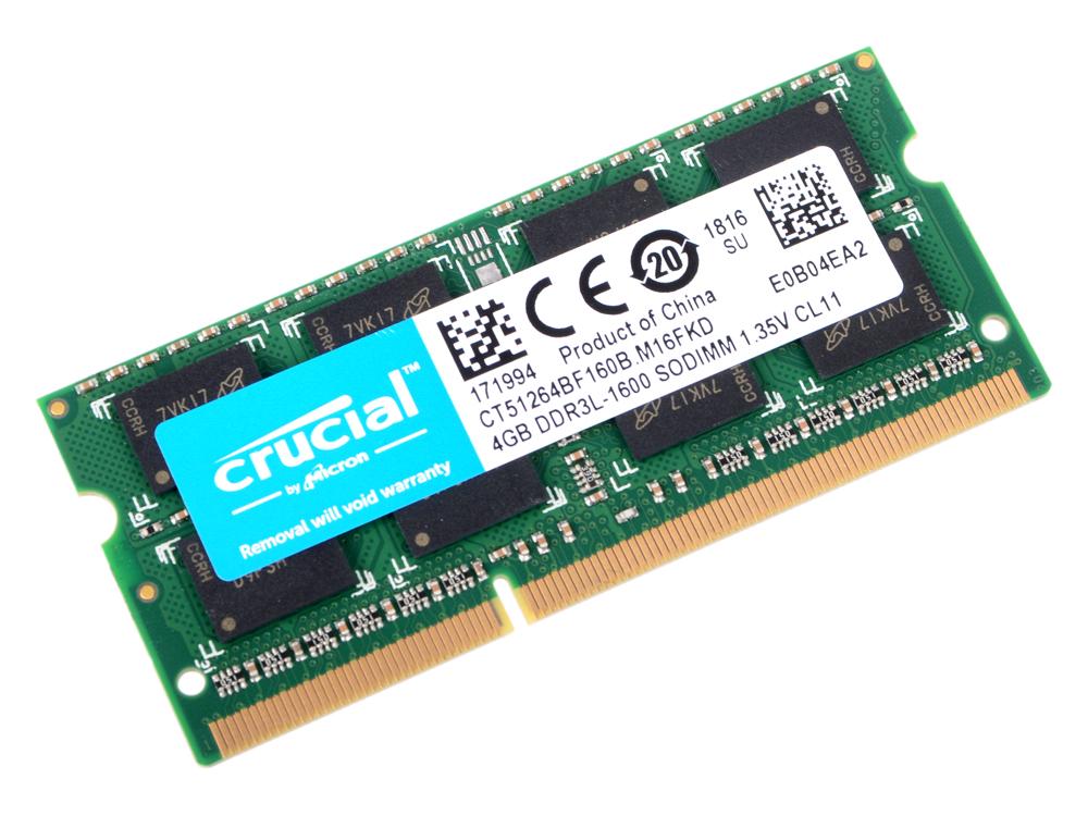 все цены на Оперативная память Crucial DDR3L 4Gb, PC12800, SO-DIMM, 1600MHz (CT51264BF160B)