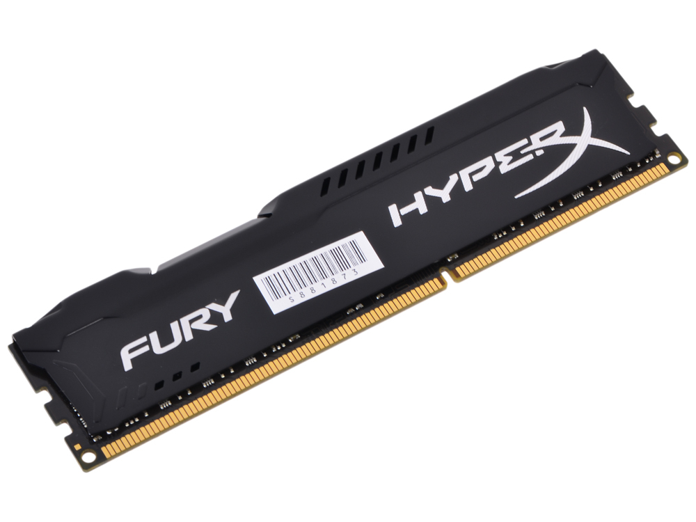 Оперативная память Kingston HyperX Fury DDR3 8Gb, PC12800, DIMM, 1600MHz (HX316C10FB/8) Black Series CL10 [Retail]