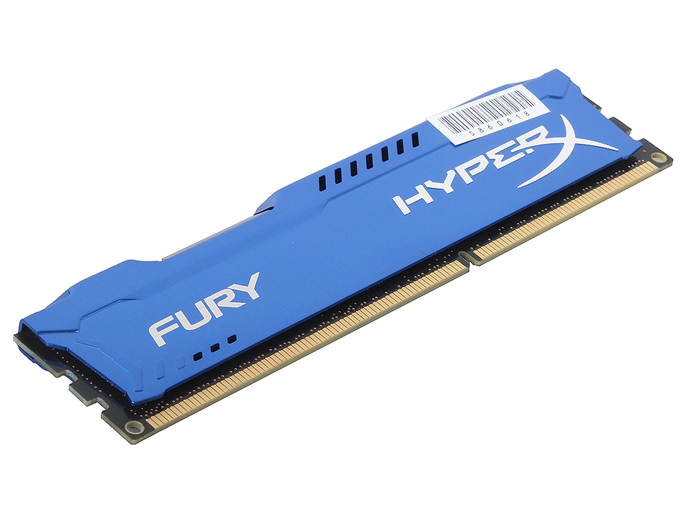 Оперативная память Kingston HyperX Fury DDR3 4Gb, PC15000, DIMM, 1866MHz (HX318C10F/4) Blue Series CL10 [Retail]