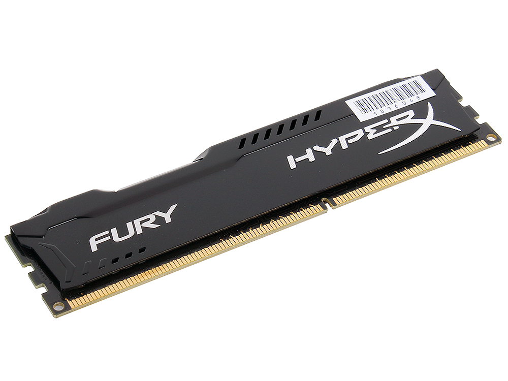 Оперативная память Kingston HyperX Fury DDR3 4Gb, PC12800, DIMM, 1600MHz (HX316C10FB/4) Black Series CL10 [Retail]