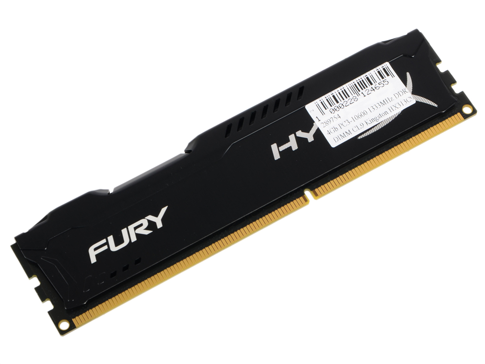 Картинка для Оперативная память Kingston HX313C9FB/4 HyperX FURY Black Series DIMM 4Gb DDR3 1333MHz DIMM 240-pin/PC-10600/CL9
