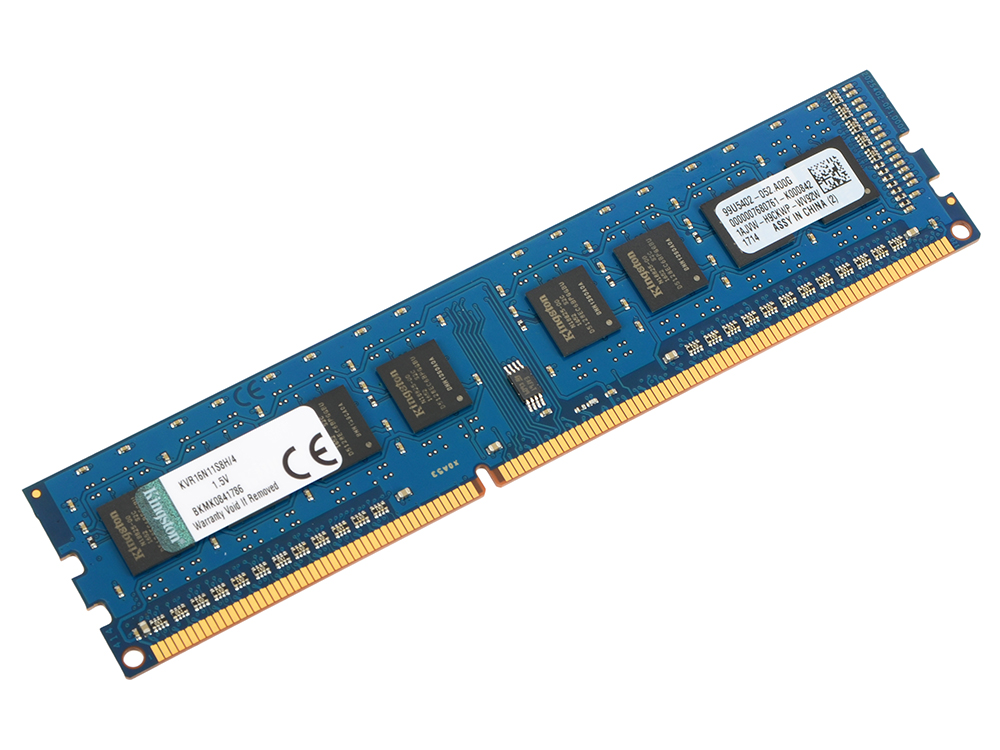 Оперативная память 4Gb PC3-12800 1600MHz DDR3 DIMM CL11 Kingston KVR16N11S8H/