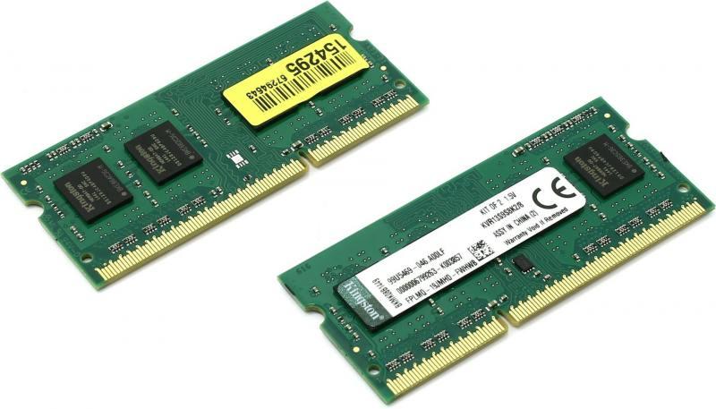 Оперативная память для ноутбуков SO-DDR3 8Gb(2x4Gb) PC10600 1333MHz Kingston KVR13S9S8K2/8 оперативная память для ноутбуков so ddr3 2gb pc10600 1333mhz kingston kvr13s9s6 2 cl9