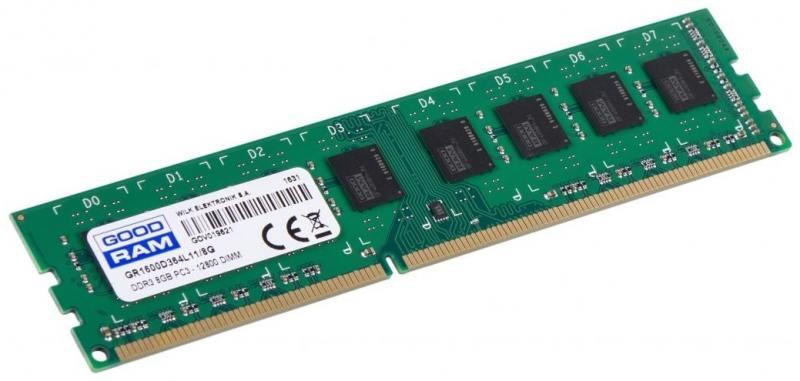 Оперативная память 8Gb PC3-12800 1600MHz DDR3 DIMM GoodRAM CL11 GR1600D3V64L11/8G
