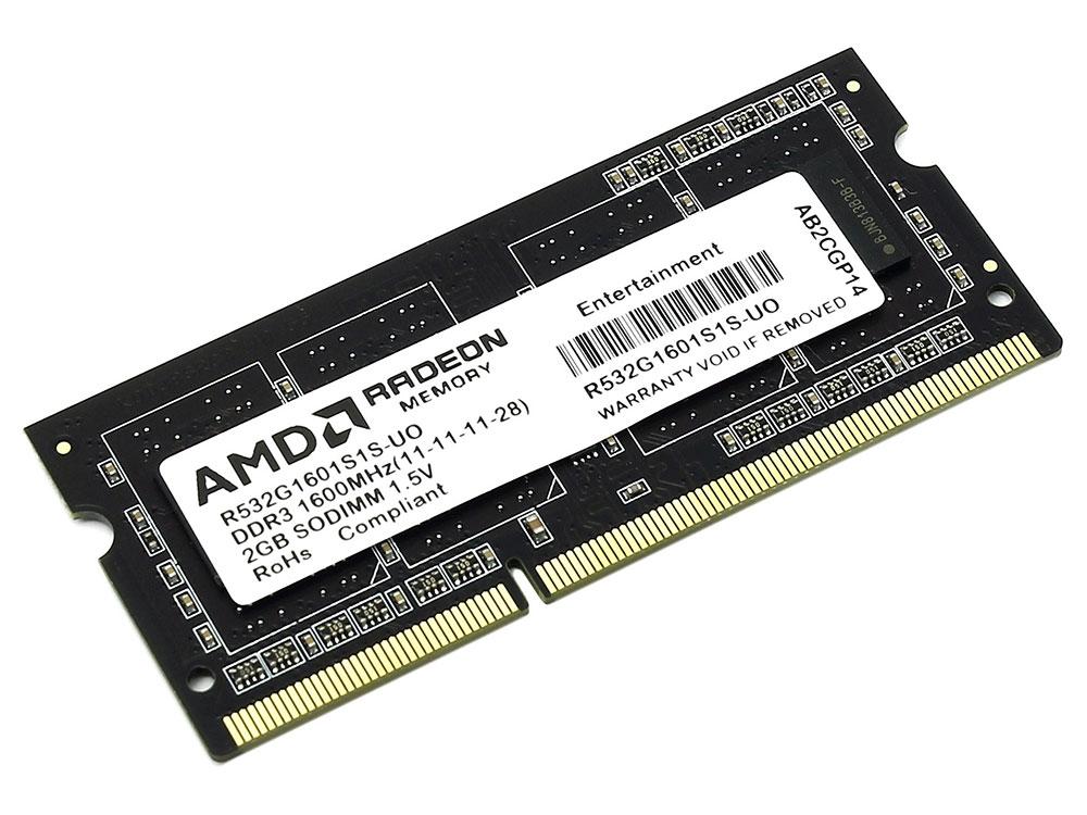 Оперативная память для ноутбуков SO-DDR3 2Gb PC12800 1600MHz AMD R532G1601S1S-UO память оперативная ddr2 amd 2gb 800mhz r322g805u2s ugo