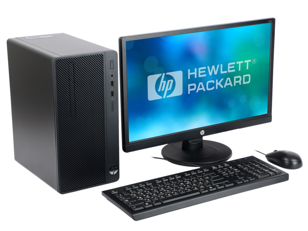Компьютер HP 290 G1 MT (1QN73EA) i3-7100 (3.9)/4GB/500GB/Int: Intel HD 630/DVD-RW/Kb+M/DOS (Black) + монитор V214a