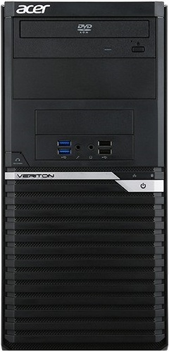 Компьютер Acer Veriton M2640G Tower DT.VPPER.145 Системный блок Black / i3 7100 3.9GHz / 4GB / 500GB / встроенная HD630 / DVD-RW / Win10 Pro системный блок acer veriton m4650g dt vq9er 115