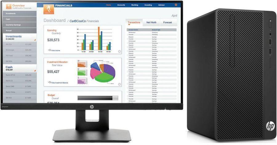 Системный блок HP 290 G1 MT (3VA23ES) i3-7100/4G/500G/HDG630/DVDRW/Win10 черный + монитор в комплекте цена и фото