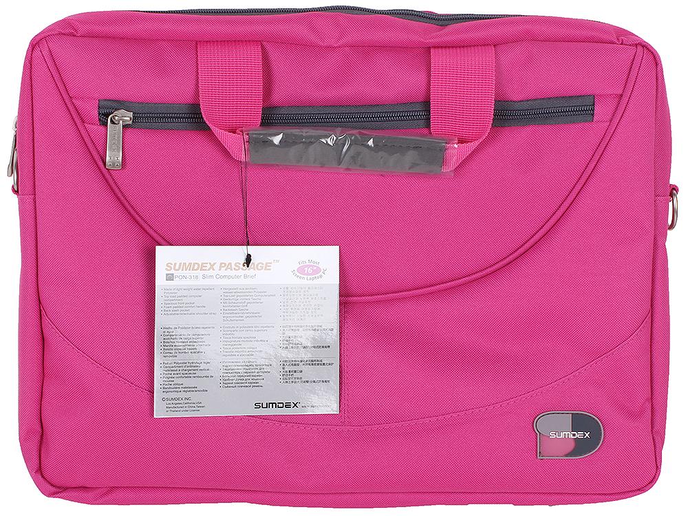 Сумка для ноутбука Sumdex PON-318RR Slim Computer Brief до 16 (нейлон/полиэстер, розовый, 39,4 x 29,2 x 7 см.) сумка для ноутбука 16 4 sumdex pon 318rd computer brief полиэстер красный