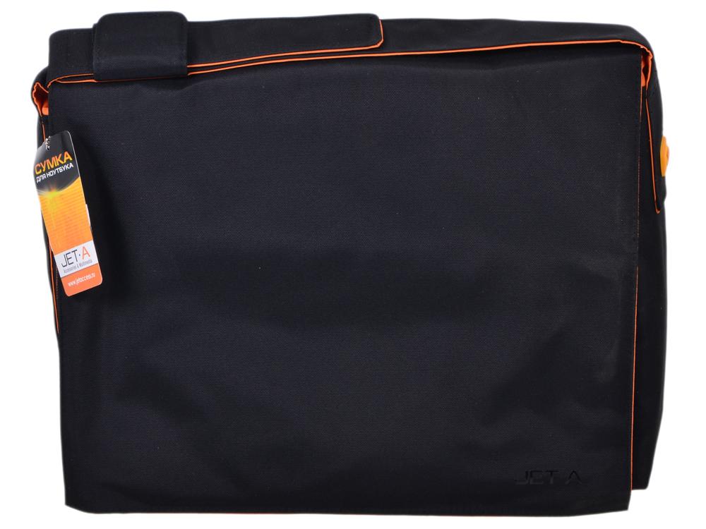 Сумка для ноутбука Jet.A LB15-12 до 15,6 (Черный/оранжевый, качественный Gucci-нейлон, ремень с изменением длины, SIZE 400*110*300мм)