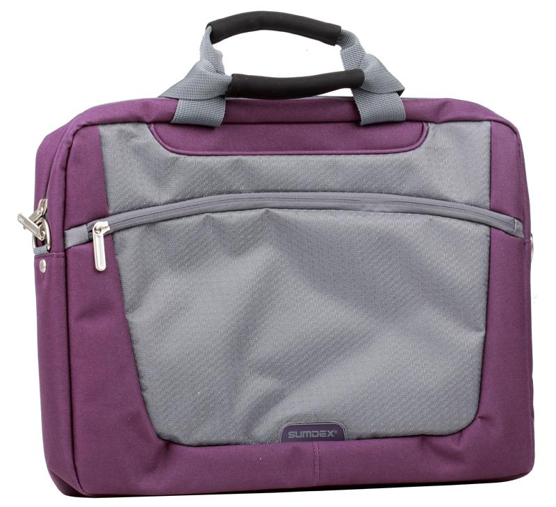 Сумка для ноутбука Sumdex PON-318PL Slim Computer Brief до 16 (нейлон/полиэстер, фиолетовый, 39,4 x 29,2 x 7 см.) сумка для ноутбука sumdex pon 308bu netbook case до 10 нейлон полиэстер голубой 29 8 х 21 х 5 1 см