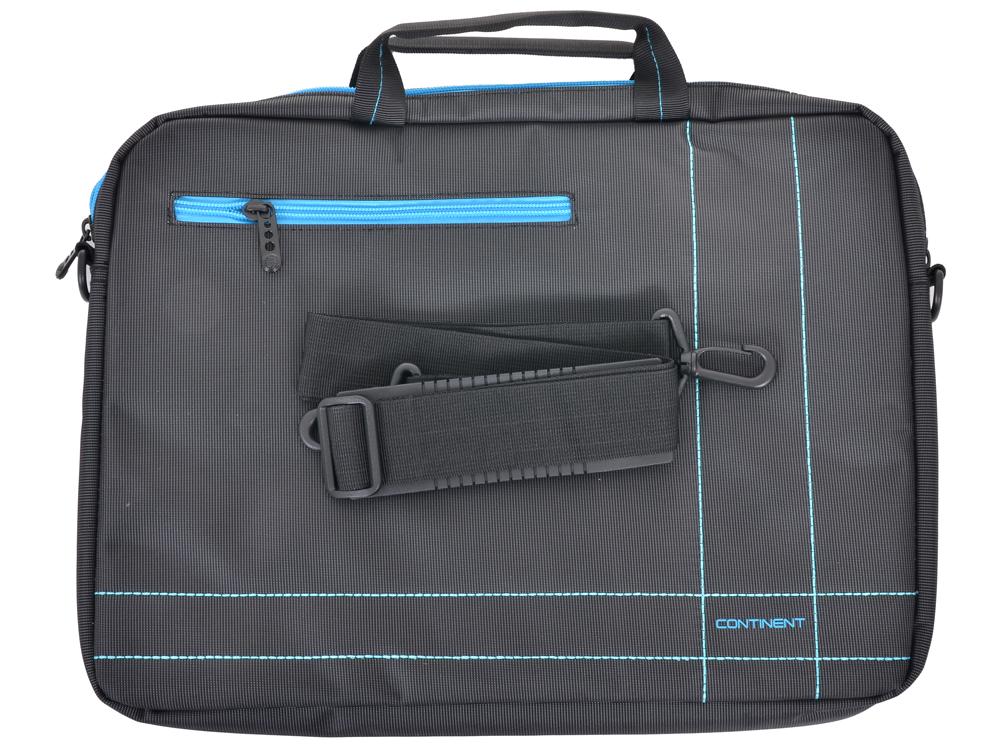 Сумка для ноутбука Continent CC-201GB до 15,6 (серый с синей отделкой, нейлон/полиэстер, 40 x 30 x 5 см.) сумка для ноутбука continent cc 031 redprints до 15 6 нейлон полиэстер красный 40 x 30 5 x 8 см