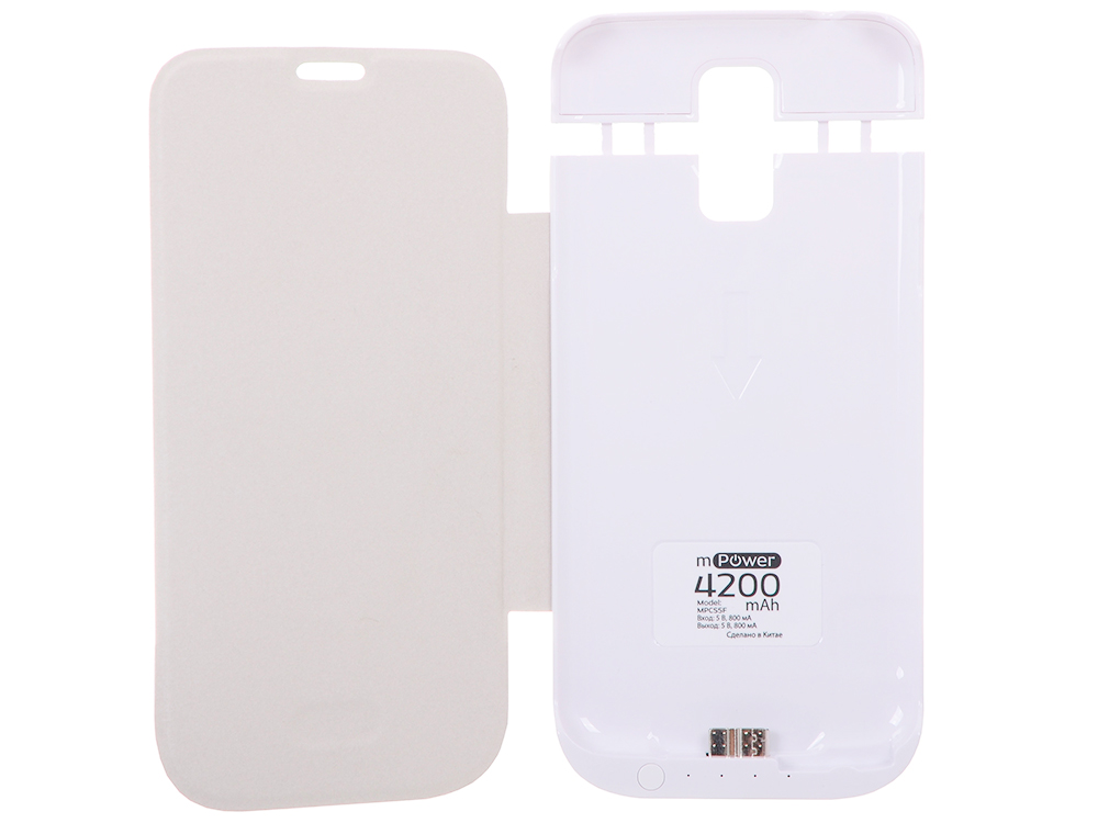 Чехол с аккумулятором Gmini mPower Case MPCS5F White, для Galaxy S5, 4200mAh, Flip cover gmini mpower case mpcs45f white чехол аккумулятор
