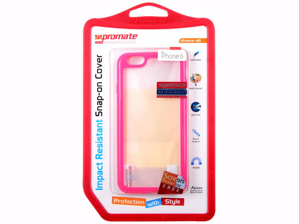 цена на Накладка для iPhone 6 Promate Amos-i6 розовый