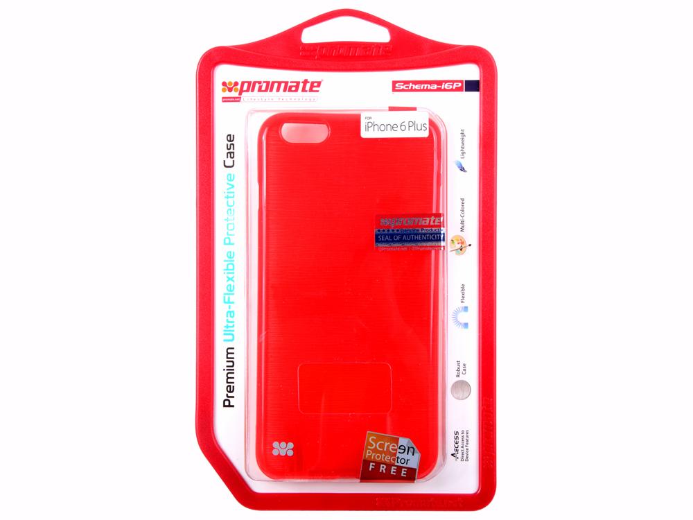 Накладка для iPhone 6 Plus Promate Schema-i6P красный чехол для занятий спортом promate liveband красный