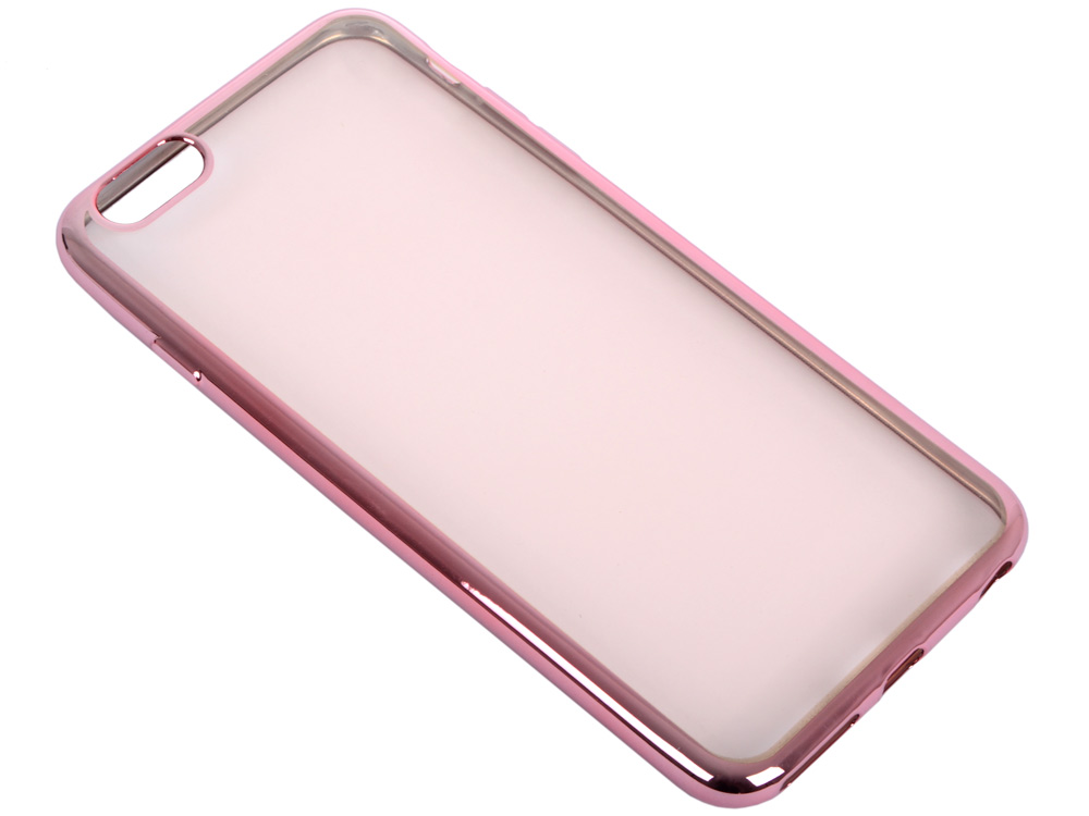 купить Силиконовый чехол с рамкой для iPhone 6 Plus/6S Plus DF iCase-03 (rose gold) недорого