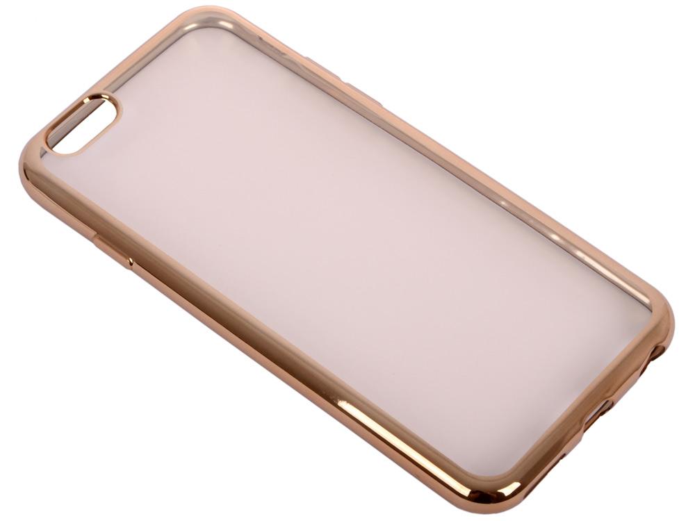 купить Силиконовый чехол с рамкой для iPhone 6/6S DF iCase-02 (gold) недорого
