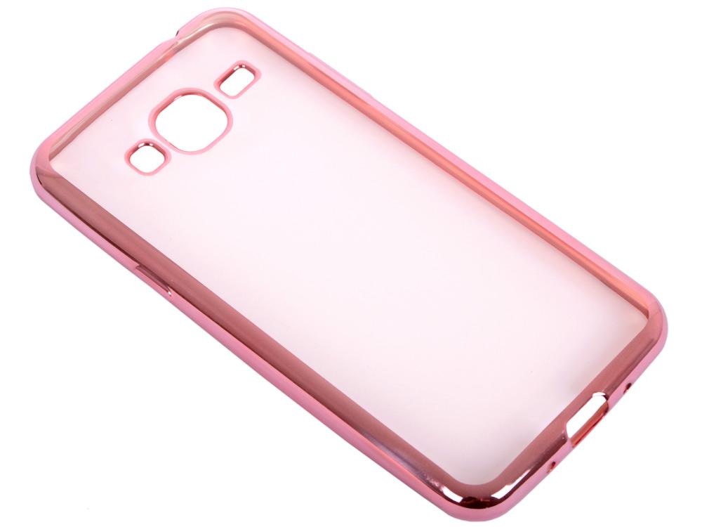 Силиконовый чехол с рамкой для Samsung Galaxy J3 (2016) DF sCase-28 (rose gold)