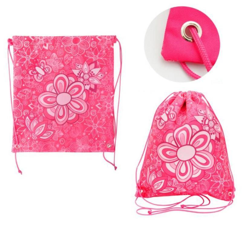 Мешок для обуви ACTION by TIGER, Цветы, разм.37 х 33 см, розовый, для девочек