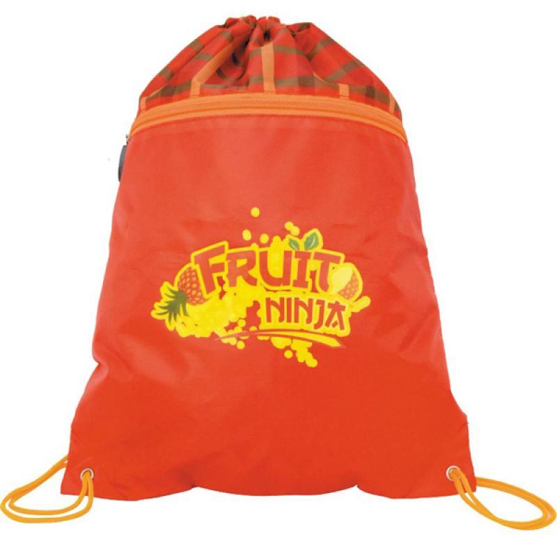 Мешок ддя обуви FRUIT NINJA, разм. 43х32 см, с карманом на молнии,красно- оранжевый, для девочек
