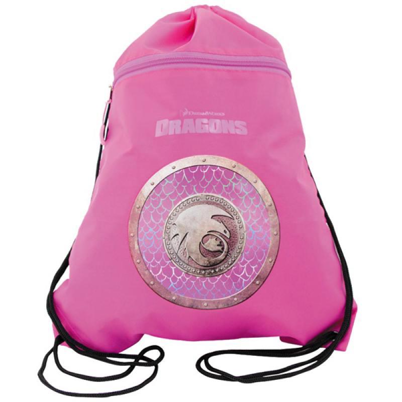 Мешок для обуви Как приручить дракона-2, разм.34х43 см, с карманом на молнии, фиолет-роз,для дев