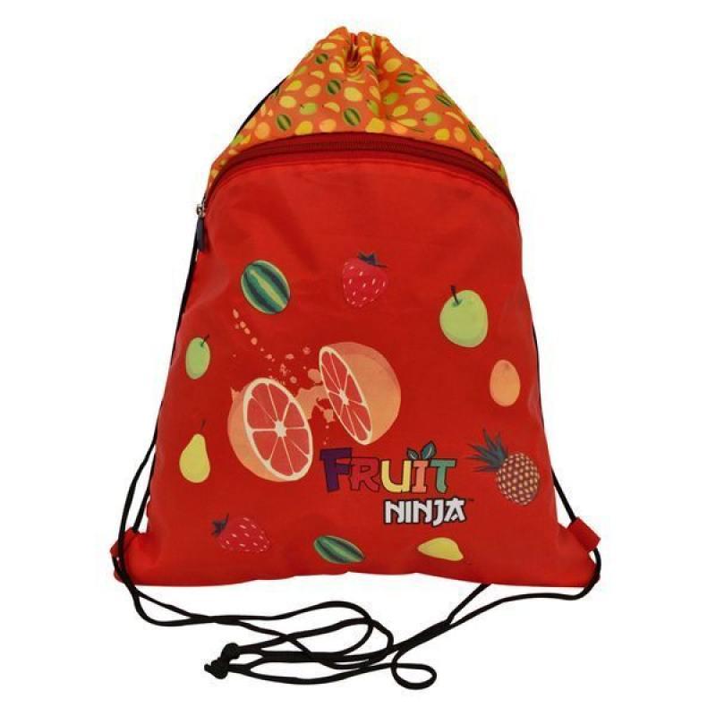 Мешок для обуви FRUIT NINJA, разм. 43х32 см, с доп. карманом на молнии, оранжевый
