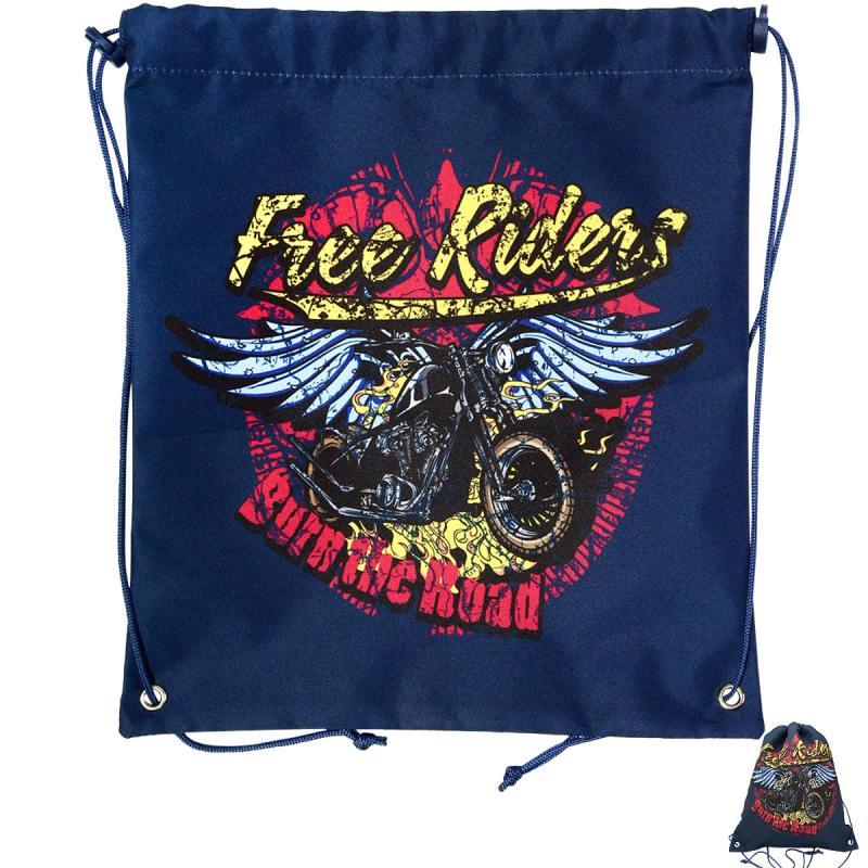 Мешок для обуви ACTION by TIGER, Free Riders, Мотоцикл с крыльями, разм.37 х 33 см, синий,для мальч