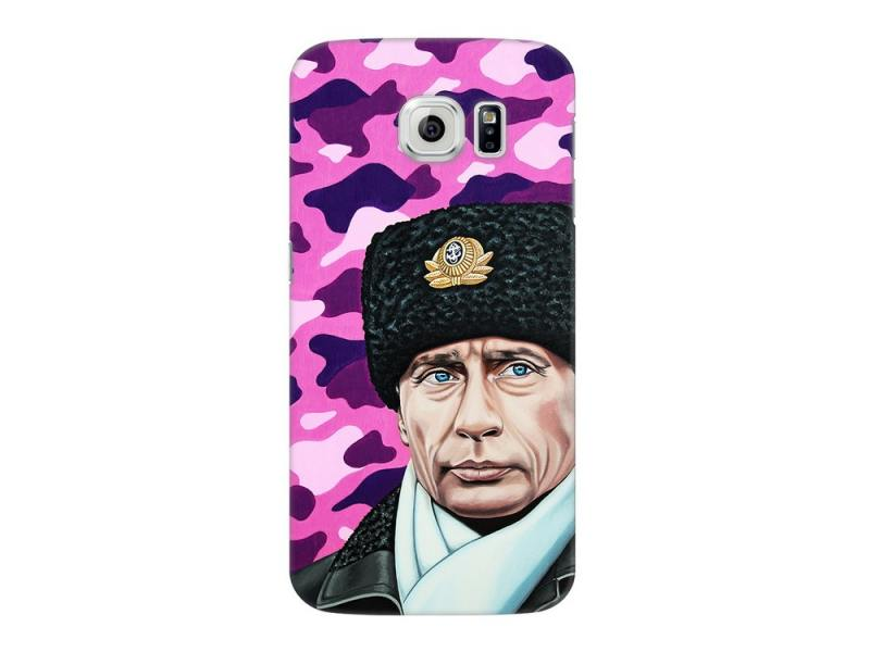 Чехол Deppa Art Case и защитная пленка для Samsung Galaxy S6, Person_Путин шапка, deppa art case чехол для htc one m9 танки стату