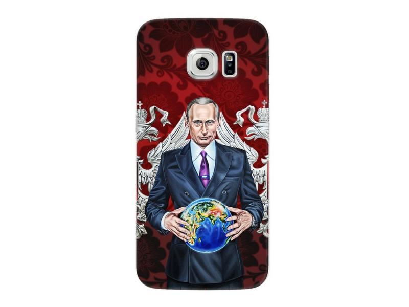 Чехол-накладка для Samsung Galaxy S6 edge Deppa Art Case Person Путин карта мира клип-кейс, поликарбонат