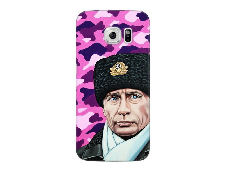 Чехол Deppa Art Case и защитная пленка для Samsung Galaxy S6 edge, Person_Путин шапка, chic quality flamingo and lotus pattern flax pillow case(without pillow inner)
