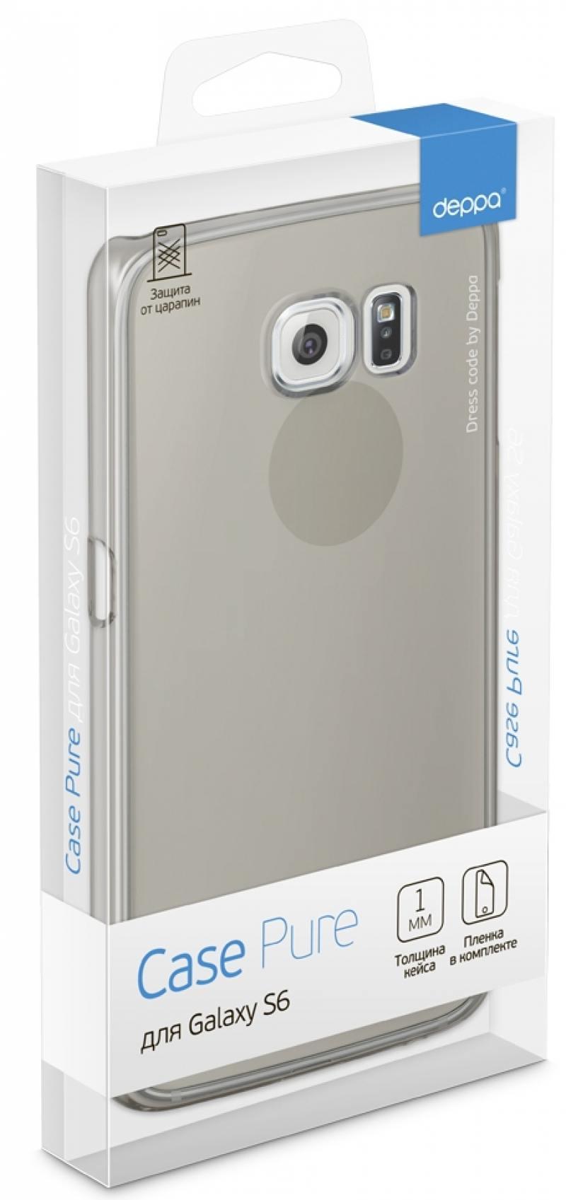 Чехол Deppa Pure Case и защитная пленка для Samsung Galaxy S6 с защитным нанесением hard coating чер защитная пленка deppa комплект защитных пленок для galaxy s6 edge