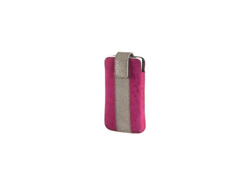 Чехол Hama Chic Case универсальный застежка замша/кожа розовый/серый H-109344