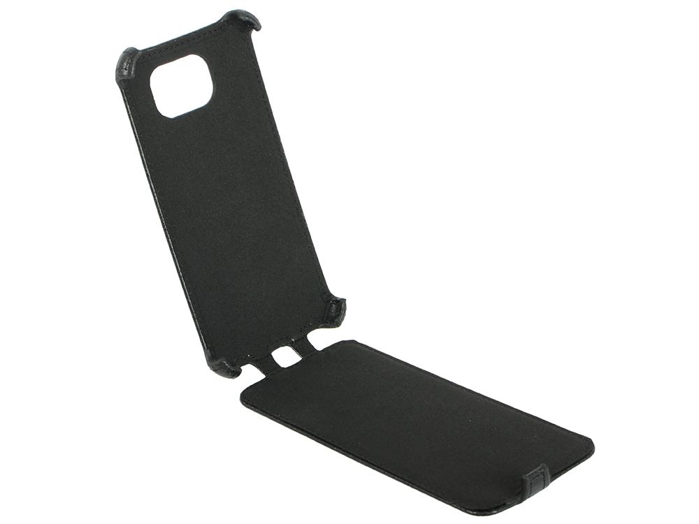 Чехол LP для Samsung Galaxy S6 раскладной кожа черный 0L-00000753 браун роуз дизайн кожа pu откидная крышка бумажника карты держатель чехол для samsung s6