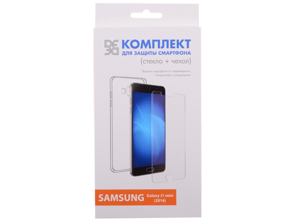 Закаленное стекло + чехол для смартфонов Samsung Galaxy J1 mini (2016) DF sKit-02 закаленное стекло для samsung galaxy j1 2016 df ssteel 49