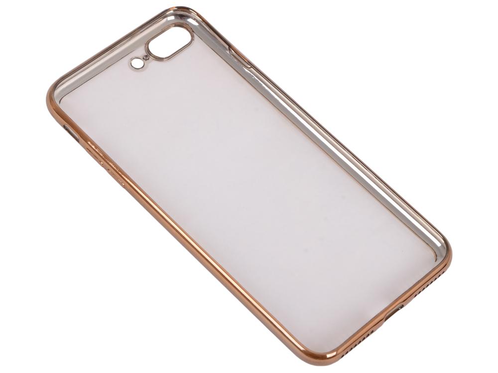 купить Силиконовый чехол с рамкой для iPhone 7 Plus DF iCase-09 (gold) недорого
