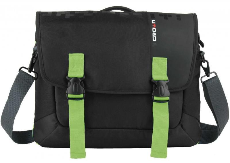 """Сумка для ноутбука 15.6"""" Crown CMCCH-3315BBG синтетика черный зеленый"""