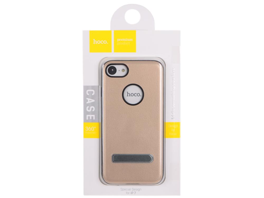 Фото - Чехол для смартфона iPhone 7 HOCO Simple Series Pago Bracket Cover (золото) 0L-00029278 накладка lp клетка с полосками для iphone 7 золотой 0l 00029551