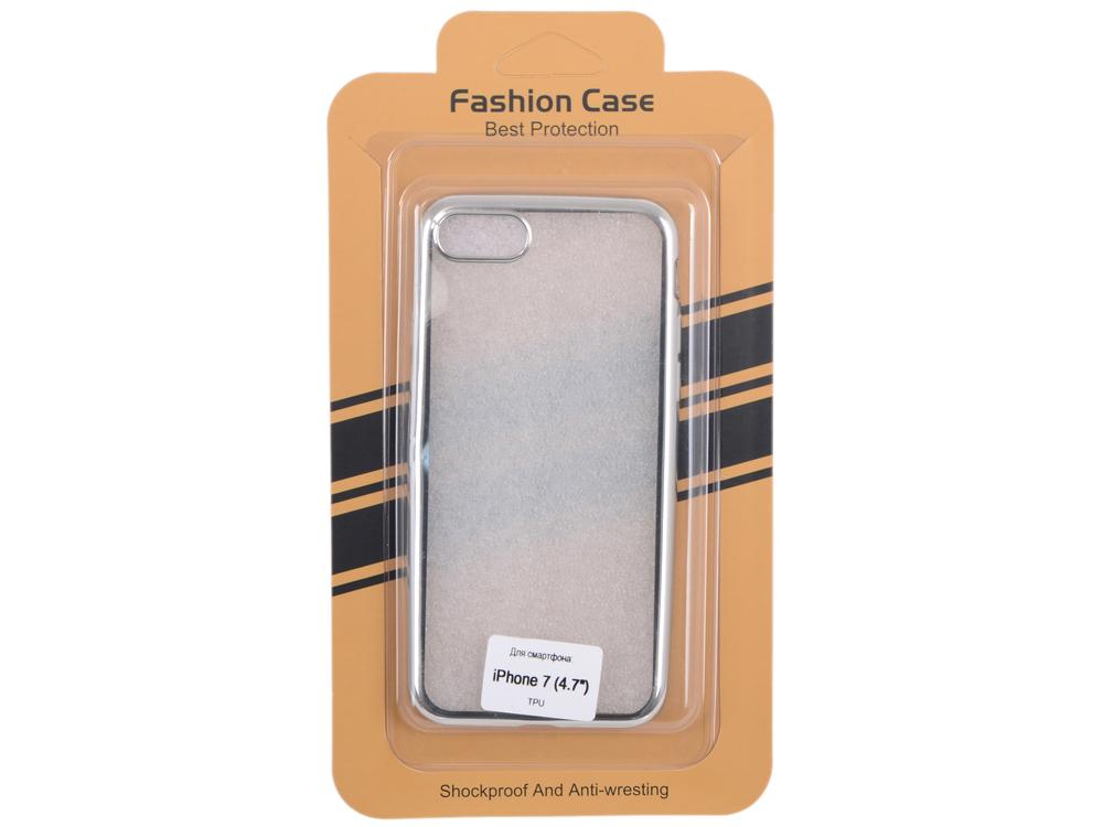 Силиконовый чехол для iPhone 7 (прозрачный с серебряной хром рамкой) 0L-00029778 силиконовый чехол для iphone 7 ударопрочный tpu armor case прозрачный 0l 00029776