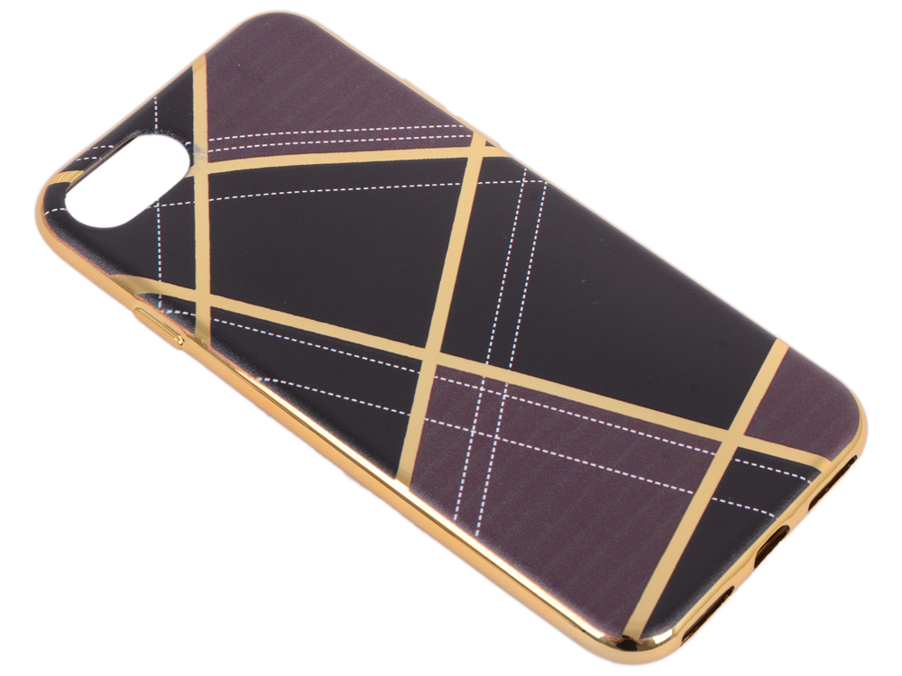 Силиконовый чехол для iPhone 7 TPU Клетка коричневая (золотой) 0L-00029578