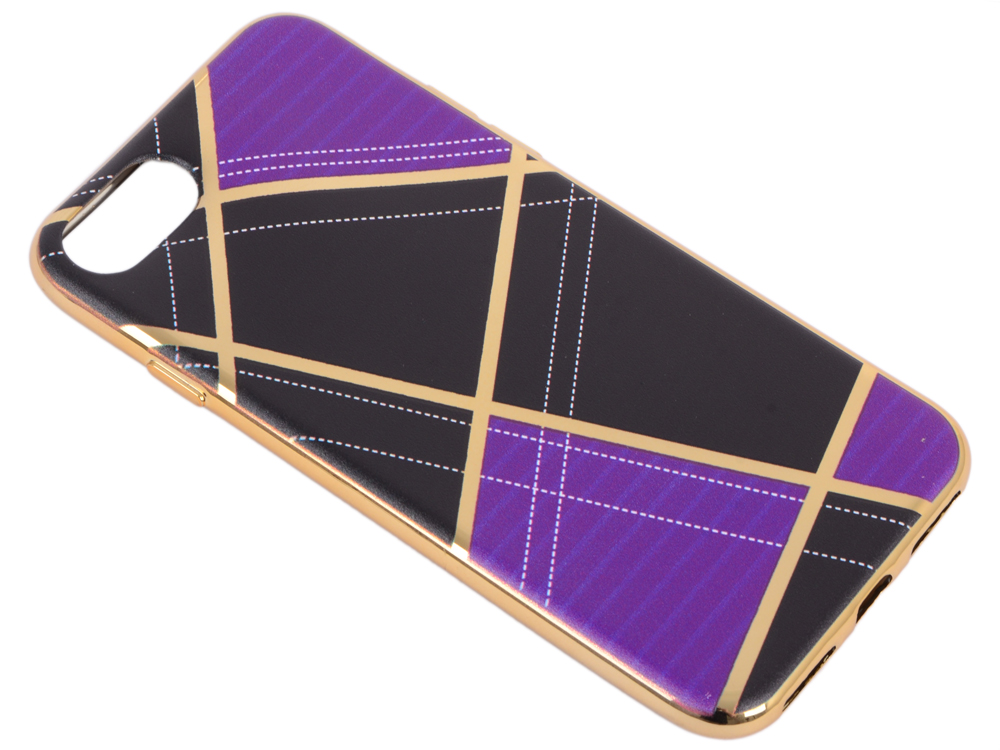 Силиконовый чехол для iPhone 7 TPU Клетка сиреневая (золотой) 0L-00029569 0 6mm ultra thin tpu shell for iphone 7 4 7 inch half moon flower