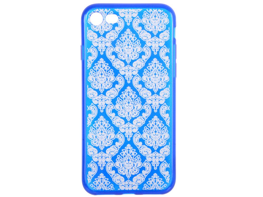 Силиконовый чехол для iPhone 7 TPU Цветочный узор (синий/прозрачный) 0L-00029604 силиконовый чехол для iphone 7 ударопрочный tpu armor case прозрачный 0l 00029776