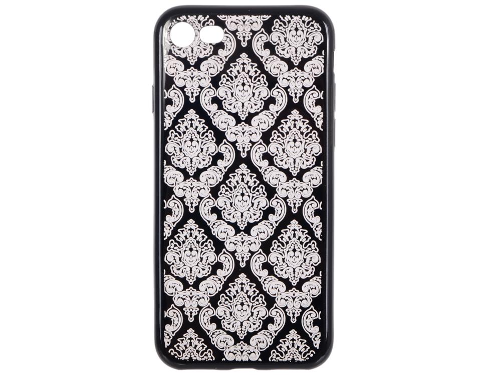 Силиконовый чехол для iPhone 7 TPU Цветочный узор (черный/прозрачный) 0L-00029607