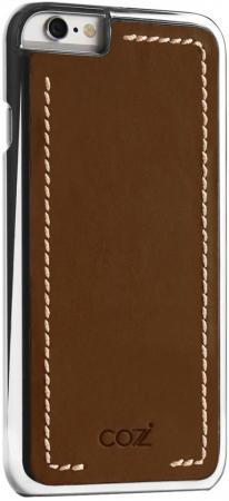 Накладка Cozistyle Leather Chrome Case для iPhone 6S коричневый серебристый CLCC6012