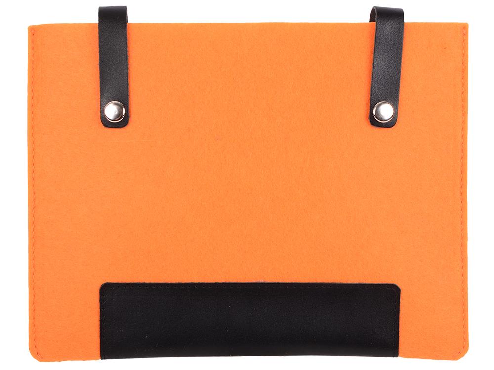 Чехол IQ Format с кожаными вставками на кнопках оранжевый с черным