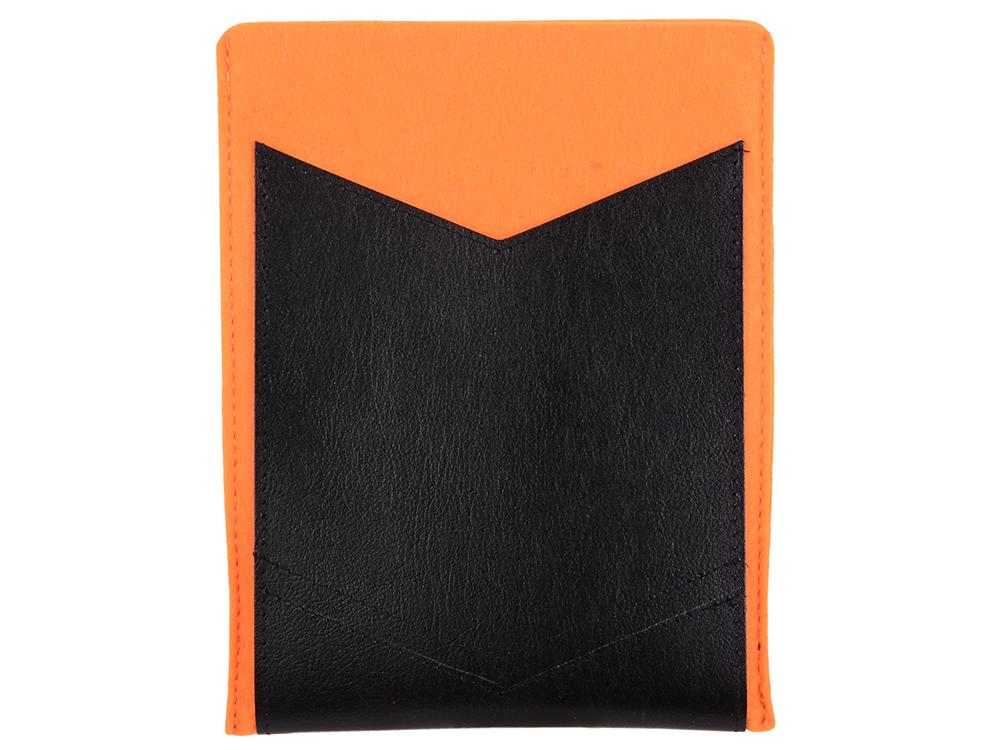 Чехол с кожаным карманом 8 оранжевый с черным чехол iq format с кожаными вставками на кнопках зеленый с черным
