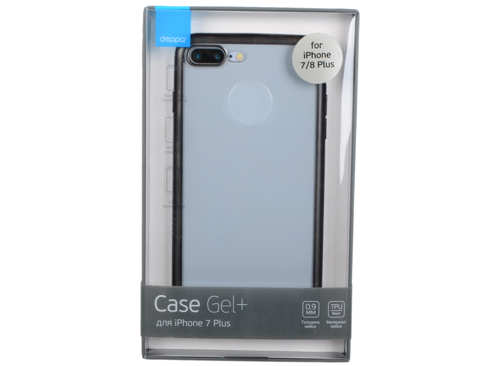 Чехол Deppa Gel Plus Case матовый для Apple iPhone 7 Plus / iPhone 8 Plus, черный, 85286 deppa sky case чехол для apple iphone 6 plus gray
