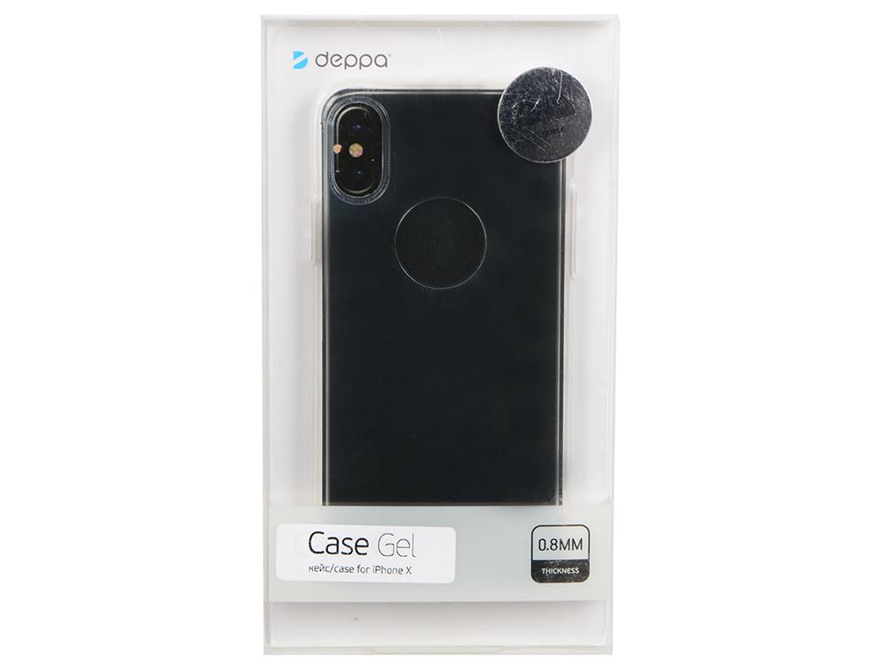 Чехол Deppa 85335 Gel Case для Apple iPhone X, прозрачный кейс, полиуретан чехол аккумулятор deppa nrg case 2600 mah для iphone 7 белый 33520