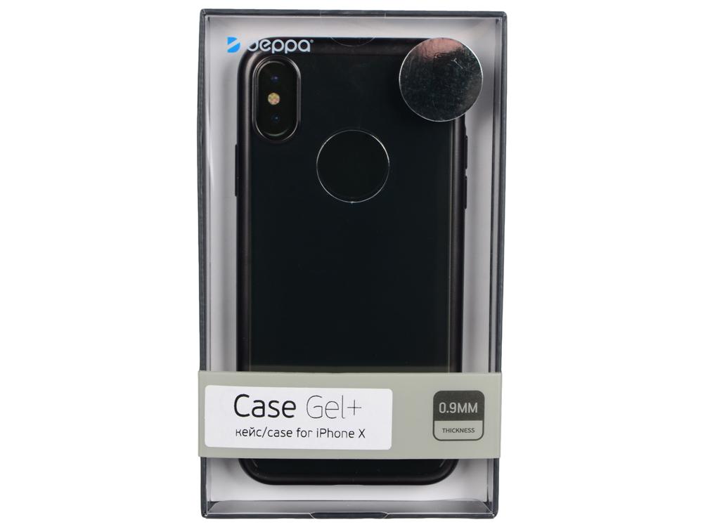 Чехол Deppa 85336 Gel Plus Case матовый для Apple iPhone X, черный кейс, полиуретан deppa gel plus чехол для apple iphone x pink
