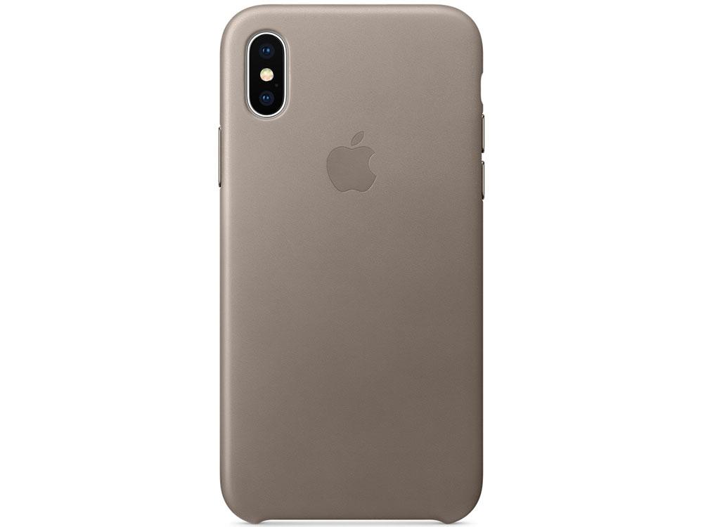 Накладка Apple Leather Case для iPhone X платиново-серый MQT92ZM/A чехол apple leather case для iphone x платиново серый