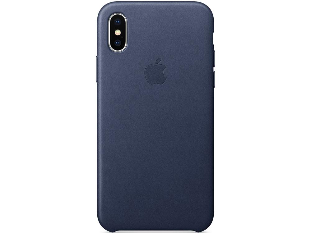 Накладка Apple Leather Case для iPhone X темно-синий MQTC2ZM/A чехол накладка apple leather case midnight blue для iphone 7 plus mmyg2zm a кожа темно синий